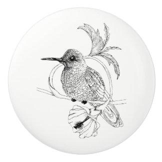 Colibri Bird Illustration Ceramic Knob