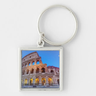 Coliseum in Rome, Italy Silver-Colored Square Key Ring