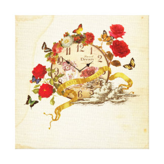 Collage canvas of clock and flower canvas print