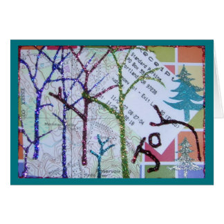 Collage Christmas Glitter Trees Map Card
