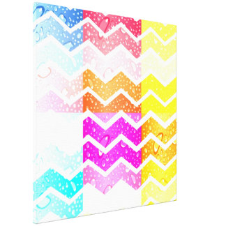 Collage colorful chevron pattern fun chic modern gallery wrapped canvas