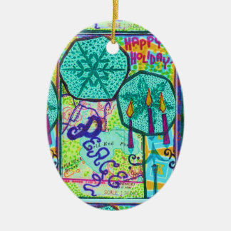 Collage Map Stained Glass Effect Ceramic Oval Decoration