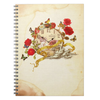 Collage note of clock and flower notebook