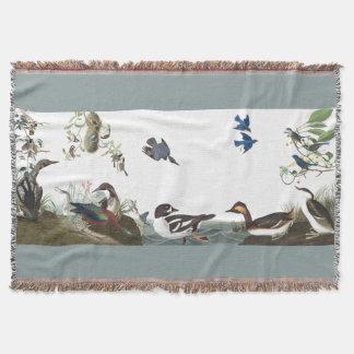 Collage of Birds Audubon Wildlife Throw Blanket