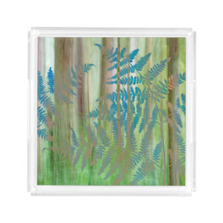 Collage of Bracken Ferns and Forest | Seabeck, WA Acrylic Tray