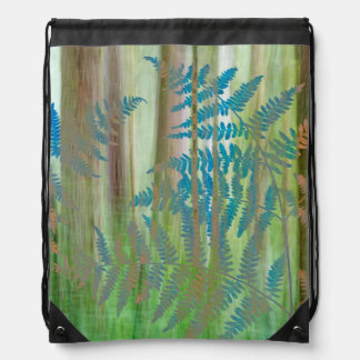 Collage of Bracken Ferns and Forest | Seabeck, WA Drawstring Bag