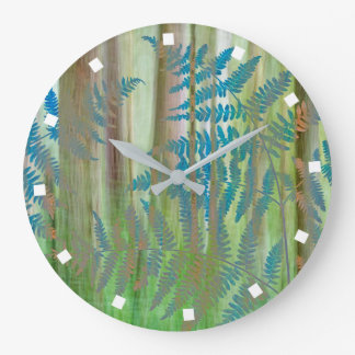 Collage of Bracken Ferns and Forest | Seabeck, WA Large Clock