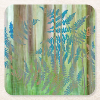 Collage of Bracken Ferns and Forest   Seabeck, WA Square Paper Coaster