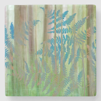 Collage of Bracken Ferns and Forest   Seabeck, WA Stone Coaster