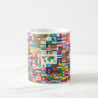 Collage of Country Flags from All Over The World Basic White Mug