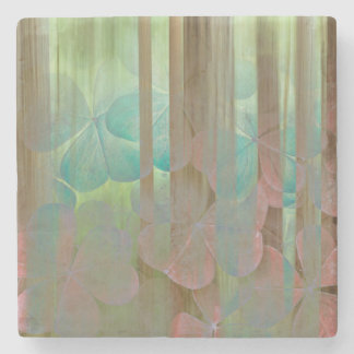 Collage of Oxalis and Trees | Seabeck, WA Stone Coaster