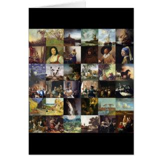 Collage of paintings of van Gogh, Vermeer, etc Card