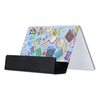 Collage of School Supplies Desk Business Card Holder