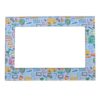 Collage of School Supplies on Blue Magnetic Picture Frames