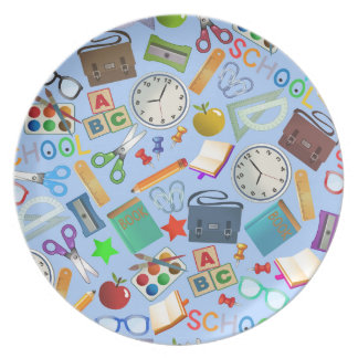 Collage of School Supplies Plate