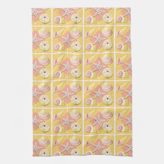 Collage of Seashells Shades of Gold & Pink Tea Towel