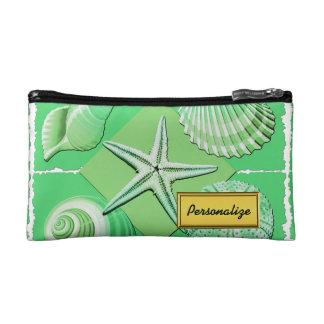 Collage of Seashells Shades of Green Makeup Bag