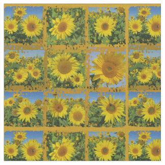 Collage of yellow sunflowers in summer fabric