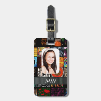 Collage pattern photo template luggage tag