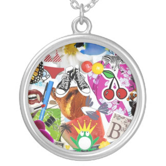 Collage Round Pendant Necklace