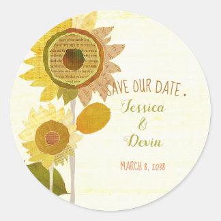 Collage Sunflower Wedding Save the Date Classic Round Sticker