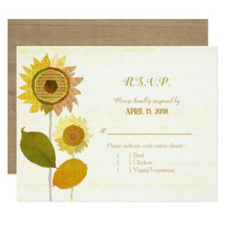 Collage Sunflowers Wedding Entrée Choice RSVP Card