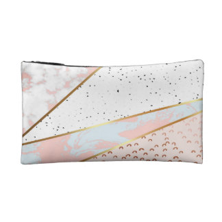 Collage,white marble,gold,silver,black,white,hand makeup bag