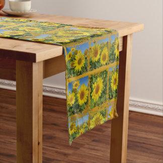 Collage, yellow, sunflowers , summer short table runner