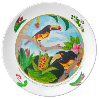 Collared Aracari (toucan), Belize, Central America Plate