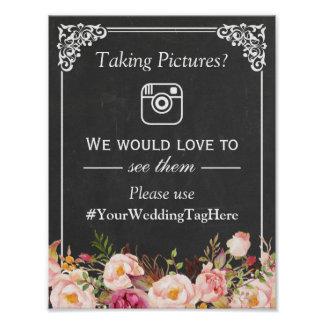 Collect Your Guests Wedding Photos Instagram Tag Poster