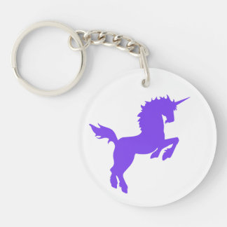 Collectible colors unicorn in PURPLE Double-Sided Round Acrylic Key Ring