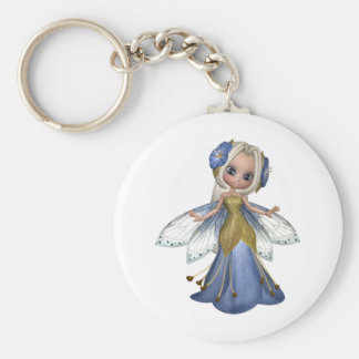 ♥ Collectible Fairy Flower Doll Art ♥ (pixie6) Basic Round Button Key Ring