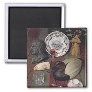 Collection of objects, including a cup square magnet