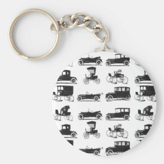 Collection of old and classic cars basic round button key ring