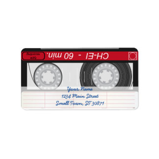 Collection of Retro Audio Cassette Tapes Address Label