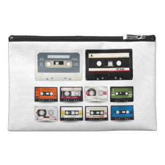 Collection of Retro Audio Cassette Tapes Travel Accessories Bags