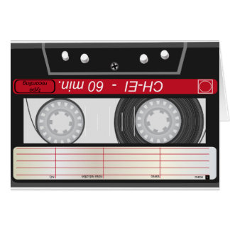 Collection of Retro Audio Cassette Tapes Greeting Card