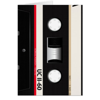 Collection of Retro Audio Cassette Tapes Note Card