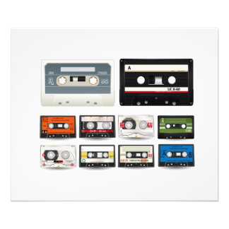 Collection of Retro Audio Cassette Tapes Photo Art