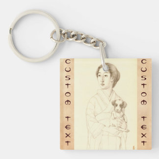 Collection of Sketches of Beauties, Graphite art Double-Sided Square Acrylic Key Ring