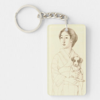 Collection of Sketches of Beauties, Graphite art Double-Sided Rectangular Acrylic Key Ring