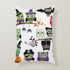 Collection Of Spooky Halloween Owls Decorative Cushion