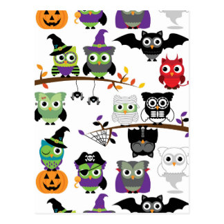 Collection Of Spooky Halloween Owls Postcard