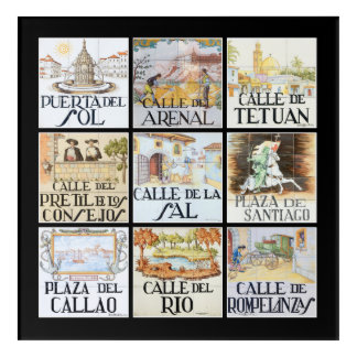 Collection of street signs from Madrid, Spain Acrylic Print