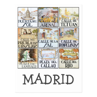 Collection of street signs from Madrid, Spain Postcard