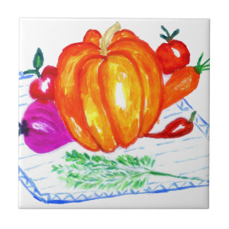 Collection of Vegetables Small Square Tile