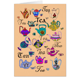Collection of  Vintage Teapots (blank inside) Card