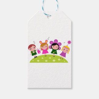 COLLECTION WITH KIDS EASTER BUNNIES GIFT TAGS
