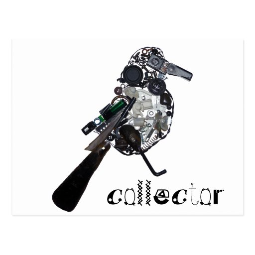 """""""Collector"""" Magpie Found-Object Sculpture Postcard"""