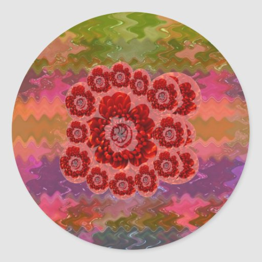 Collectors Edition - Sparkle Red n Pink Rose Round Sticker